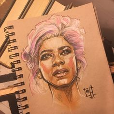 Zendaya as Anne Wheeler from The Greatest Showman by saintworksart. Color Pencil on paper. The Greatest Showman, Drawing Stuff, Zendaya, Colored Pencils, Musicals, Fanart, Graphics, Drawings, Paper