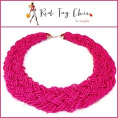 ✨ Hot Pink Beaded Choker Necklace ✨  Exquisite beading and intricate detailing describe this hot pink choker necklace :: Total length around 16-17 inches Jewelry Necklaces