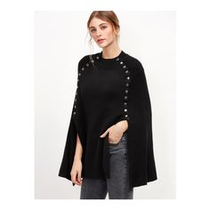 SheIn(sheinside) Black Metal Button Embellished Poncho Sweater ($36) ❤ liked on Polyvore featuring tops, sweaters, black, embellished tops, poncho style sweater, long sleeve sweater, button sweater and loose long sleeve tops