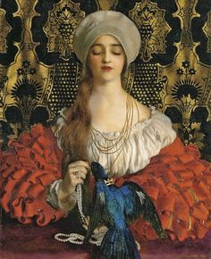"By Artist Frank Cadogan Cowper (1877–1958), ""The Blue Bird""..."