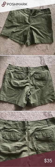 New York & Co. Olive Green Cargo Shorts 16 New York & Co Shorts  Size 16  Olive Green  Fabric: 97% Cotton 3% Spandex  Measurements in pictures  No damage Smoke Free New York & Company Shorts Cargos
