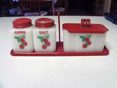 Vintage McKee Tipp Cherries Range Set Salt, Pepper, Grease Jar @Lauren Davison Bowers the set is still available....