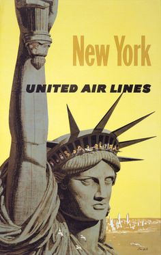 New York. Statue of Liberty. People look out from the crown of the Statue of Liberty in New York. Illustrated by Stanley Galli, circa 1960s. Vintage New York United Airlines travel poster.