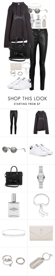 """""""Untitled #1050"""" by marissa-91 ❤ liked on Polyvore featuring Acne Studios, Vetements, Ray-Ban, adidas Originals, Yves Saint Laurent, Gucci, Monica Vinader, Suzanne Kalan, Forever 21 and Chanel"""