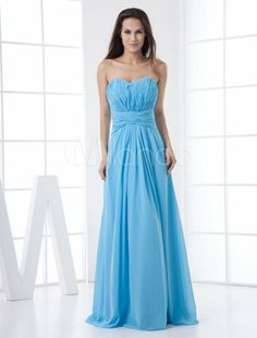 Sky Blue Floor Length Strapless Chiffon Bridesmaid dress in forest green  www. Find this Pin and more on La robe demoiselle d honneur ... 27f1bb86bdca