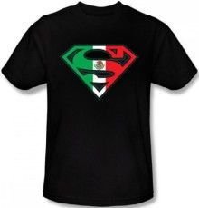 Superman Mexican Flag Shield T-shirt (Large, Black)