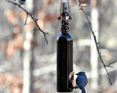 Alimentador de colibrí de botella de vino por RebeccasBirdGardens