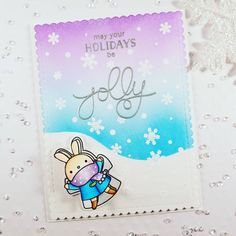 Hello crafty friends.  I made this #card using products from @mamaelephant . #Snowflakes and #sequins are from #prettypinkposh. Please see my previous post to watch the bunny make #snowangel/wobble . Goodnight . #pixshappyholiday #mamaelephant #holidaycard #holidaycards #simonsaysstamp #ssswchallenge #papercrafts