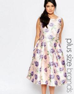 Chi Chi London Plus Sleeveless Midi Prom Skater Dress In Floral Print