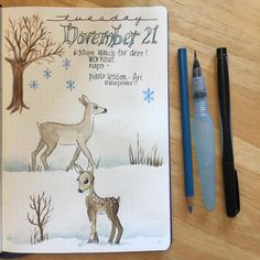 Trying to draw deer...I'll keep trying. #illustratedjournal #bujo #watercolor #leuchtturm1917