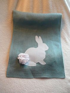 "Easter Bunny Table Runner with Fuzzy (Fleece) Tail. 15""X48-60"""