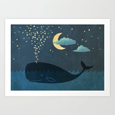 Star-maker, whale illustration by Terry Fan this would be cute In a little kids room Illustrations, Illustration Art, Framed Art Prints, Poster Prints, Terry Fan, Whale Canvas, Canvas Art, Canvas Prints, Whales