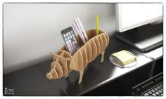 Pig pen desk - Cnc cutting file cardboard - Sliced 3d Model -animal template laser cutting - Interior design shelf desktop