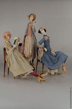 """Коллекционные куклы ручной работы. Ярмарка Мастеров - ручная работа. Купить Авторские куклы """"Три сестры"""". Handmade. Голубой, кружево"""