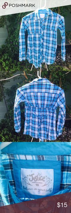 🆕LISTING- ✅B2G1✅ Blue Plaid Justice Tunic Preloved in great condition. Only worn maybe twice Justice Shirts & Tops Button Down Shirts