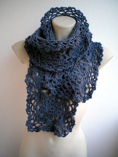 Dark Blue Jeans Wool Scarf Hand Crocheted Scarf Woman by NonnaLia