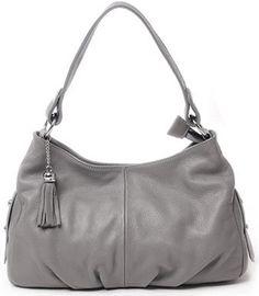 Heshe Women's Genuine Leather Dating Shopping Hobo Cross Body Shoulder Bag Satchel Handbag (Grey)