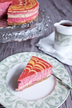 Strawberry zebra-striped cheesecake
