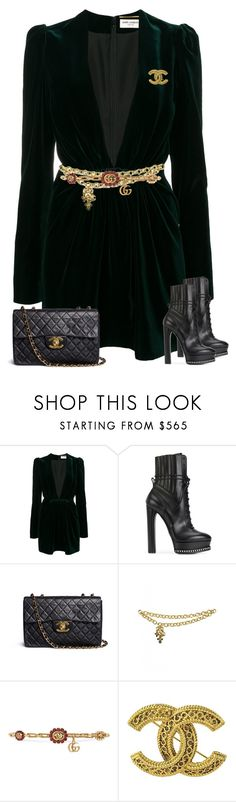 """Untitled #2109"" by iammelissa ❤ liked on Polyvore featuring Yves Saint Laurent, Casadei, Chanel and Gucci"