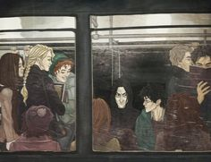 """Another illustration to """"Better late"""" written by Mummi. And also this is a little gift for my dear evgrash. Prince in the subway Harry Potter Comics, Harry Potter Severus Snape, Severus Rogue, Harry James Potter, Harry Potter Films, Harry Potter Ships, Harry Potter Anime, Harry Potter Fan Art, Harry Potter Universal"""