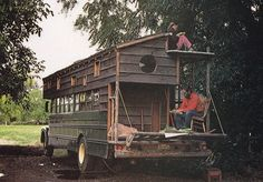 Living Off the Grid in a School Bus Turned Camper Cabin?  this was featured in a book in 1979... Handmade Rolling Houses is the title I think.... groovy then,, groovy now.