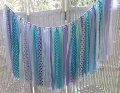 Fabric Garland in Shade of purple mint and by FabricWorksByLauraL