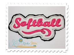 Softball Distressed Applique for machine embroidery