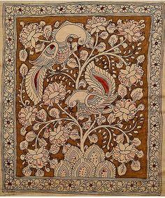Kalamkari Fabric, Kalamkari Painting, Madhubani Art, Madhubani Painting, Peacock Painting, Fabric Painting, Painting Art, Kalamkari Designs, Indian Folk Art