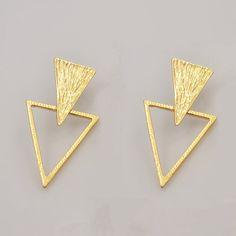 Nouveaux bijoux de mode en métal avec plaqué or Géométrique Triangle boucles d'oreilles parti cadeau pour les femmes fille E2666