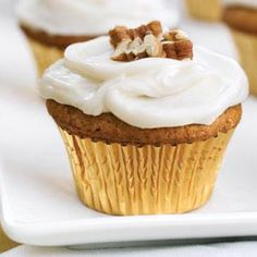 Keep this family favorite around for the holiday season. Mashed sweet potatoes give the cupcakes extra moistness, while a myriad of spices including cinnamon and nutmeg, spice up the traditionally sweet dessert. A simple cream cheese frosting and a sprinkle of chopped pecans is all that's needed on top.