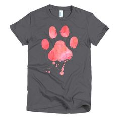 Dog Paw Print In Pink Watercolor Short Sleeve Women's Soft Jersey T-Shirt – Mazzoo