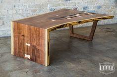 Handmade Walnut Live Edge Waterfall Coffee Table. By #GuddeCo in Austin,TX