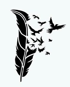 BIRDS of a FEATHER stencil airbrush tattoo. Feather Stencil, Stencil Art, Animal Stencil, Tattoo Feather, Bird Stencil, Skull Stencil, Stenciling, Silhouette Cameo, Silhouette Projects