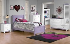 The Sweetdreams Collection - White - Age Appropriate. Finding furniture for children that both appeals to the young and is sophisticated enough for teens can be a challenge, but our Sweetdreams bed collection walks that fine line deftly. Quality Furniture, Online Furniture, Kids Furniture, Purple Bedding, White Bedding, Bedroom Color Schemes, Bedroom Colors, Dream Bedroom, Girls Bedroom