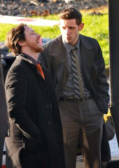 """'Filth' Actors James McAvoy and Jamie Bell film their new movie, """"Filth"""" on January 23, 2012 in Glasgow, Scotland. The guys smoked cigarettes and laughed between takes in the cold, rural location. (January 23, 2012 - Photo by FameFlynet Pictures)"""