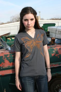 Classic twist on a butterfly Not, Its a Mothy Moth v-neck or crew slim Shirt by sacerandsavive on Etsy