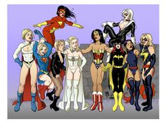 DC/Marvel ladies' hang out Female Avengers, Female Superhero, Superhero Design, Marvel E Dc, Marvel Women, Marvel Girls, Comic Book Characters, Marvel Characters, Comic Books