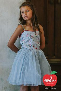 Tilly Painted Blue Floral Tutu Dress | Girls Party Dress | Oobi Girls Kid Fashion