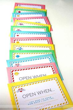 """Open When"" Letters- FREE download. Fun idea for a Valentine's gift for the husband or boyfriend"