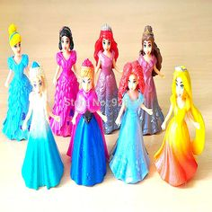 8pcs/set Magic Clip Princess Dress Snow White Cinderella Elsa Anna Anime PVC Action Figures Statue Dolls Figurines Kids Toys #>=#>=#>=#>=#> Click on the pin to check out discount price, color, size, shipping, etc. Save and like it!
