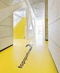 Simple way-finding floor graphic, looks great in clean yellow/whiteblack - office interiors, interior design, interior graphics, signage, directional signage
