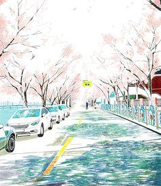 벚꽃이 만개했던 길. #illustration #illust #drawing #draw #digitalart #photoshop #daily #cherryblossom #street #scenery #tree #일러스트레이션 #일러스트 #그림 #일상 #거리 #벚꽃길 #벚꽃 #풍경