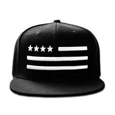 """4 Star Flag"" white-on-black snapback from LA's Under label. $29.00"