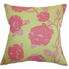"The Pillow Collection Lalomalava Floral Throw Pillow Color: Blossom, Size: 22"" x 22"""
