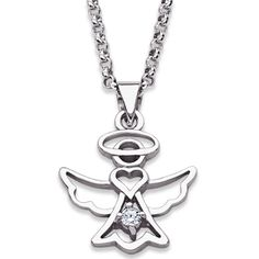 Buy Sterling Silver Angel in Halo Necklace with CZ Accent at Limoges