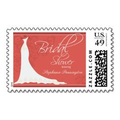 Elegant chic wedding dress bridal shower stamp. Wanna make each letter a special delivery? Try to customize this great stamp template and put a personal touch on the envelope. Just click the image to get started!