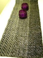 Hand woven black table runner (cotton / video cassette tape).