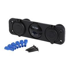 Dual USB Charger+ 12V Socket+Voltmeter+3 Hole Panel Marine Car Boat Blue LED