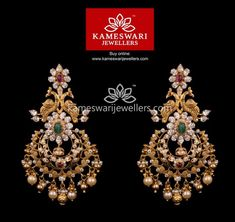 Mesmerizing collection of gold earrings from Kameswari Jewellers. Shop for designer gold earrings, traditional diamond earrings and bridal earrings collections online. Gold Jhumka Earrings, Gold Bridal Earrings, Buy Earrings, Jewelry Design Earrings, Gold Earrings Designs, Gold Jewellery Design, Bridal Jewelry, Earrings Online, Gold Designs