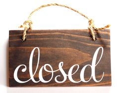 Open Closed Store Sign Wood Double Sided / Rustic Business